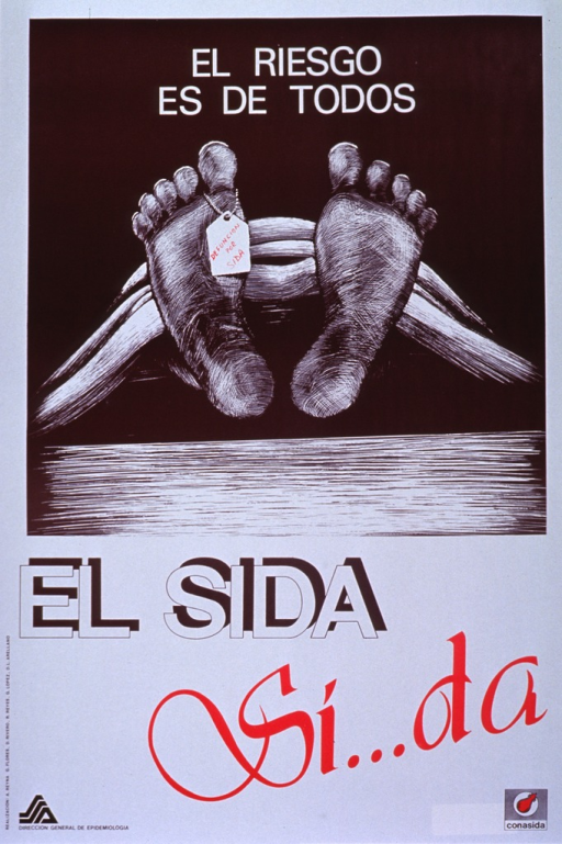 <p>White and brown poster with multicolor lettering.  Title at top of poster.  Visual image is a drawing of the soles of two feet that protrude from a sheet or blanket.  A toe tag hangs on the big toe of the foot on the left, bearing the note text that the person died of AIDS.  Caption below illustration uses word play to emphasize that AIDS &quot;gives.&quot;  Publisher information at bottom of poster.</p>