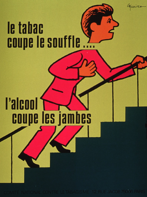 <p>Multicolor poster with black lettering.  Visual image is an illustration of a man climbing stairs.  His hand is on his chest and he leans forward, as if the climb is difficult.  Title text on left side of poster; the phrases cut through the illustration at the neck and knees.  Publisher information at bottom of poster.</p>