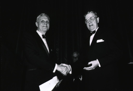 <p>Showing Drs. James Shannon, Eichna, and Dietrich at an awards ceremony on April 20, 1972.</p>
