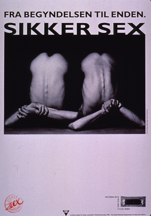 <p>Poster in black and white with a red logo at the bottom. The visual shows the back torso of two men and a photograph of a packaged condom at the bottom of the poster.</p>