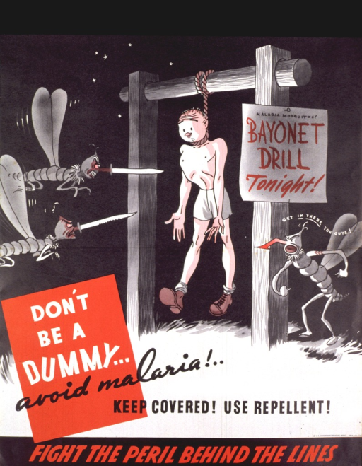 <p>Black, white, and red poster.  Visual image is an illustration of a soldier hanging from a cross bar, ready to be attacked by two angry-looking, cartoon-character mosquitos.  A sign hangs on the cross-bar post reading &quot;bayonet drill tonight&quot; and a third mosquito urges the other two on.  Title near lower left corner.  Publisher information near lower right corner.  Note at bottom of poster.</p>