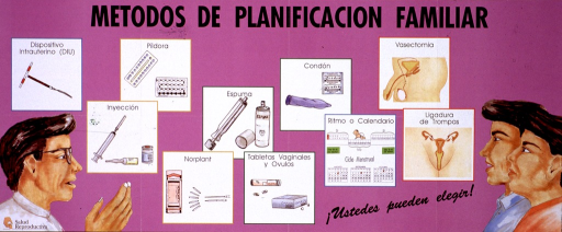 <p>Predominantly purple poster with black lettering.  Title at top of poster.  Visual images are illustrations of several methods of contraception, a health worker, and a male-female couple.  The contraceptive methods include IUD, pills, injection, implants, foam, vaginal tablets, condoms, rhythm or calendar, vasectomy, and tubal ligation.  Publisher information in lower left corner.  Note in lower right corner.</p>