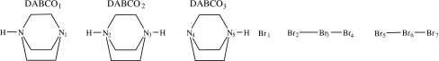 Detail of bis(1,4-Diazoniabicyclo(2.2.2)octane) bis(1-aza-4-azoniabicyclo(2.2.2)octane) tetrakis(tribromide) dibromide