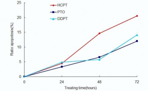 The apoptosis ratios of PC3 cells treated with PTO and DDPT (20 μM) assessed by flow cytometry. These cells were treated with HCPT, PTO and DDPT (20 μM) for 24, 48 and 72 h.