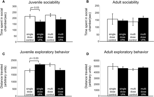 Effect of VPA treatment on sociability and exploratory behavior. (A) Juvenile rats treated with a single dose of VPA spend less time with a novel rat. (B) This effect is reversed in adults. Juvenile and adult rats treated with multiple doses of VPA respond similarly to controls. (C) Juvenile rats treated with a single dose of VPA explore more than controls. (D) This is reversed in adults. Juvenile and adult rats treated with multiple doses of VPA respond similarly to controls.