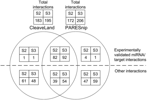 Venn diagram showing the comparison of results produced by CleaveLand and PAREsnip. The Venn diagram shows the intersection of predictions made by PAREsnip and CleaveLand and is a summary of the results within Supplementary Tables S2 and S3.