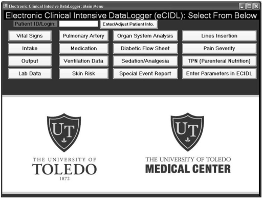 The main menu of the developed Electronic Clinical Intensive Data-Logger (eCIDL).This main menu contains buttons that link the user to various interfaces which contain text fields and drop-down menus to log all medical records present in the comprehensive intensive care unit medical record. This software application was utilized to convert paper-based medical records into electronic records suitable for direct neural network model utilization.