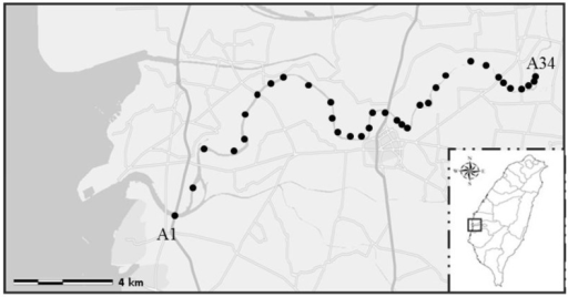 Sampling points along Puzih River. The sampling sites in the figure are shown as black dots (https://maps.google.com.tw).