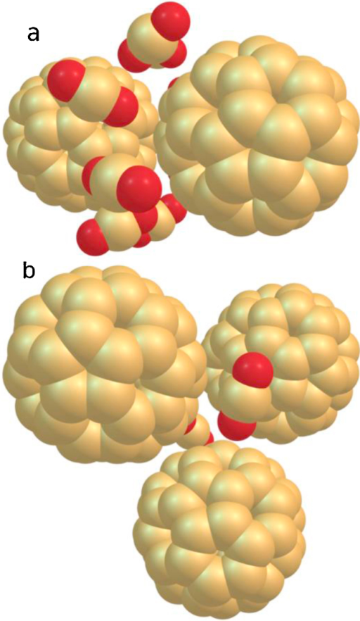 Occupation of the groove sites on a cationic fullerene dimer by 8 CO2 molecules in a fence-like manner (a) and of the dimple sites (one CO2 molecule each) on a trimer (b).