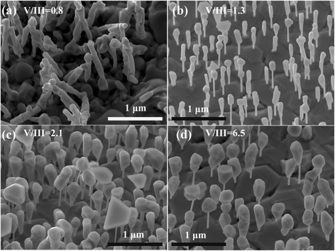 SEM images of GaAs/GaSb heterostructure NWs grown at different V/III ratios. (a) V/III = 0.8, (b) V/III = 1.3, (c) V/III = 2.1, and (d) V/III = 6.5, respectively.
