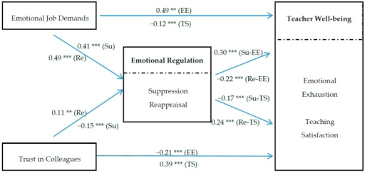 Path analysis results of the hypothesized model. Note: ** p < 0.01, *** p < 0.001. EE = Emotional Exhaustion, TS = Teaching Satisfaction, Su = Suppression, Re = Reappraisal.