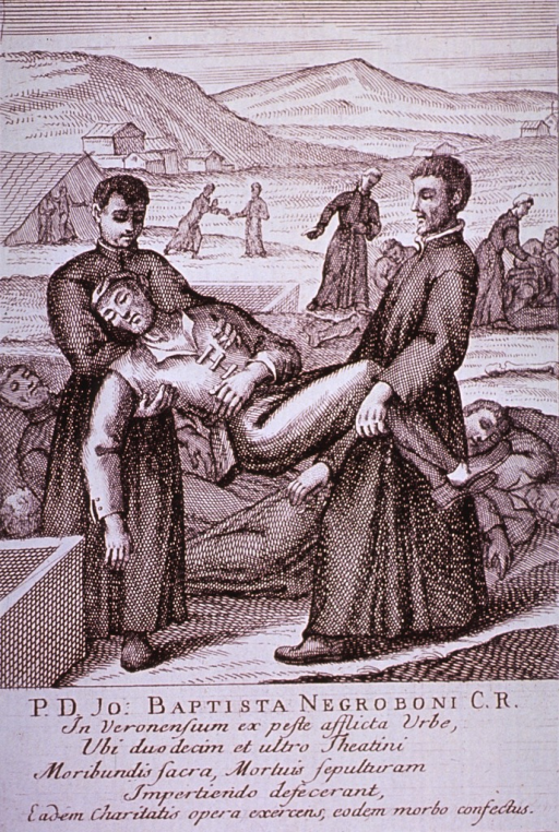 <p>Plague broadsides: Engravings attached to memorials for priests who died tending plague victims throughout Italy. Shows priests removing the bodies of the dead in preparation for burial.</p>