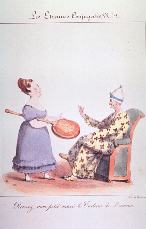 <p>Caricature on the use of a warming pan:  A young woman holding a warming pan suggests its use to an old person sitting in a chair.</p>