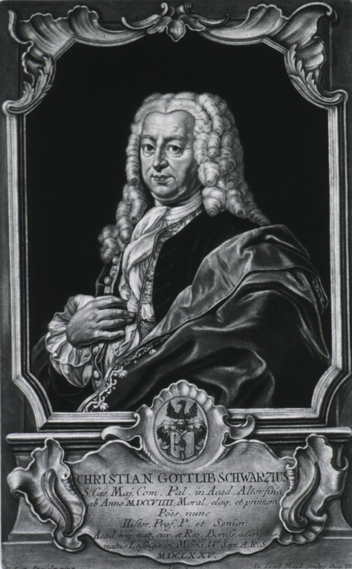 <p>Half length, left pose; within elaborate frame, with coat-of-arms and Latin inscription.</p>