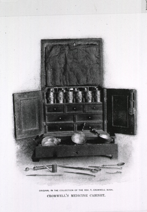 <p>Cromwell's medicine cabinet, open, with some instruments in foreground.</p>