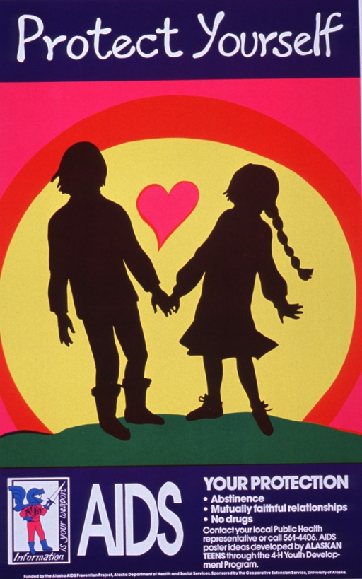 <p>Brightly colored poster with white lettering.  Title at top of poster.  Central visual image is the silhouette of a male and female holding hands, with a heart in the background.  Logo of a knight in armor in the lower left corner of poster.  Motto around the knight is &quot;Information is your weapon.&quot;  Caption, contact information, and sponsor listed at bottom of poster.</p>