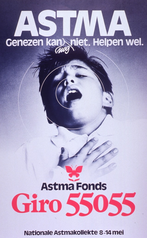 <p>Predominantly black and white poster with multicolor lettering.  Title at top of poster.  Title word &quot;nog&quot; or &quot;yet&quot; appears below the rest of the text and is inserted via an editorial mark.  Visual image is a b&amp;w photo reproduction featuring a boy who is struggling to breathe.  Publisher information and note announcing a national asthma collection near bottom of poster.</p>