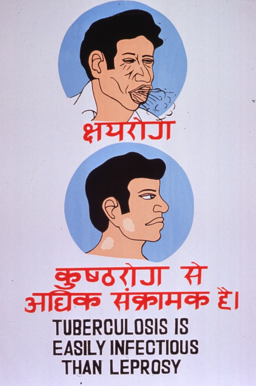 <p>Predominantly white poster with red and black lettering.  Some text in a Devanagari script (Hindi?).   Visual images are illustrations of a man coughing and a man with ulcers on his cheek and neck.  English title at bottom of poster.</p>