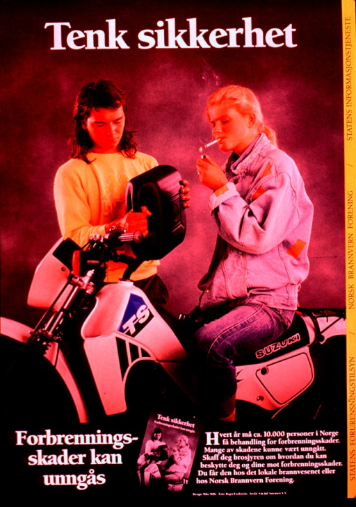 <p>Multicolor poster with white and black lettering.  Title at top of poster.  Visual image is a color photo reproduction featuring a young man pouring gasoline into a motorcycle while the young woman sitting on the motorcycle lights a cigarette.  Caption below photo states that burns can be avoided.  Additional text notes that roughly 10,000 people are treated for burns each year, many of which are avoidable, and offers a brochure.  A b&amp;w photo reproduction featuring the brochure accompanies the text.  Publisher and sponsor information on right side of poster.</p>