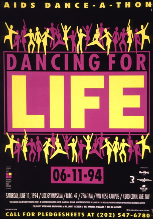 <p>Two lines of dancing human figures promote an AIDS dance-a-thon.</p>