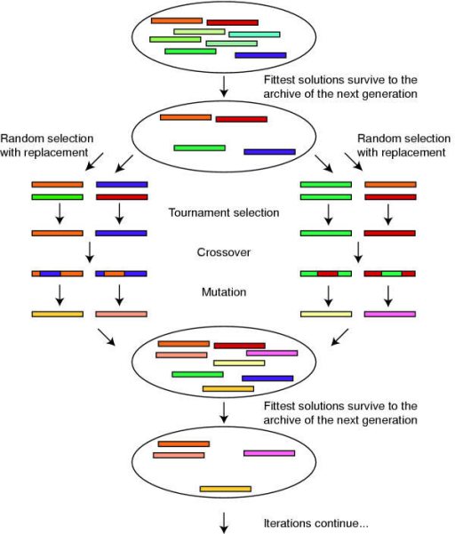SPEA2. A cartoon of the SPEA2 algorithm, operating on a population size of eight with an archive of four. The algorithm continues for a fixed number of generations, and then outputs non-dominated solutions. Details of each of the steps are described in the text.