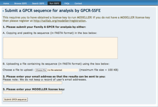 GPCR-SSFE sequence submission page. Where a family A GPCR is not contained in the database, a user may submit their sequence of interest to GPCR-SSFE for template prediction and homology modelling. Users must obtain a licence key for Modeller before they are able to use this function.