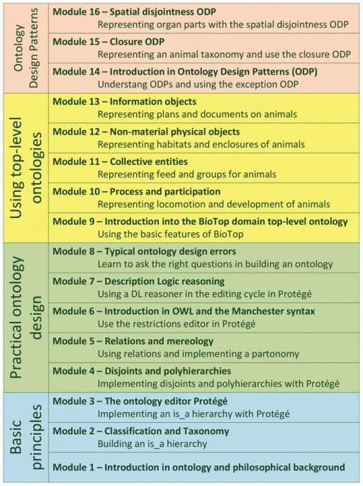 The sequence of modules in the curriculum.It follows the stepwise layout of the GoodOD guideline and the increasing complexity of the contents. Modules 10–13 and 15–16 were used in the intervention (see Table 1).