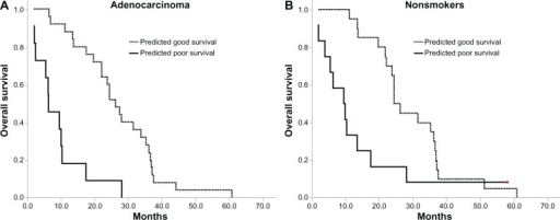 Kaplan–Meier survival curves for overall survival in adenocarcinoma and nonsmoker subgroups.Notes: (A) Overall survival of the adenocarcinoma subgroup according to baseline proteomic classification (hazard ratio, 0.174; 95% confidence interval, 0.077–0.396; P<0.001). (B) Overall survival of nonsmokers according to baseline proteomic classification (hazard ratio, 0.394; 95% confidence interval, 0.183–0.846; P=0.014).