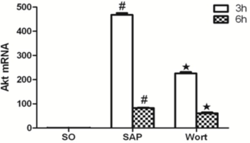 Akt mRNA expression in each group at the 3 h and 6 h time point.#P<0.05 vs. SO group; ★P<0.05 vs. SAP group.