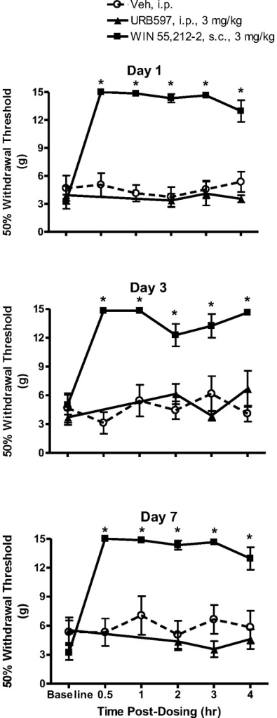 Effects of URB597 and WIN 55,212-2 treatment over seven days on below-level cutaneous hypersensitivity in rats with neuropathic SCI pain.Baseline hind paw withdrawal thresholds were measured prior to treatment with either URB597 (3 mg/kg, i.p.), WIN 55,212-2 (3 mg/kg, s.c.) or vehicle (Veh, 1.5 ml/kg, i.p.). Rats were treated twice daily and tested following the first daily injection. On the first day of testing, a robust antinociception was observed beginning 30 min post-injection of WIN 55,212-2, which was observed also observed on days 3 and 7. By contrast, no antinociceptive effects were observed following treatment with either URB597 or vehicle. Data presented as mean ± S.E.M. n = 8–10/group. * p<0.05 vs. vehicle (Two-way repeated measures ANOVA, Student-Newman-Keuls test).