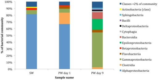 Class level affiliations assigned to contigs with predicted proteins and rRNA genes in source water (SW), produced water day 1 (PW day 1) and produced water day 9 (PW day 9).Total community includes Bacteria, Archaea, Viruses and Eukaryota.