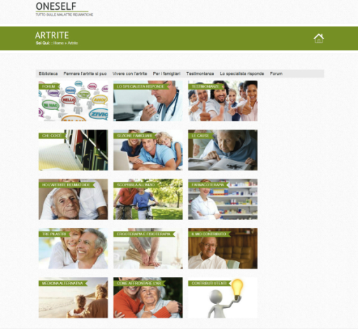 Screenshot of the complete rheumatoid arthritis section on the ONESELF website.