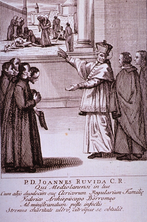<p>Plague broadsides: Engravings attached to memorials for priests who died tending plague victims throughout Italy. Shows a gathering of priests that have come to greet the Archbishop on his arrival.</p>