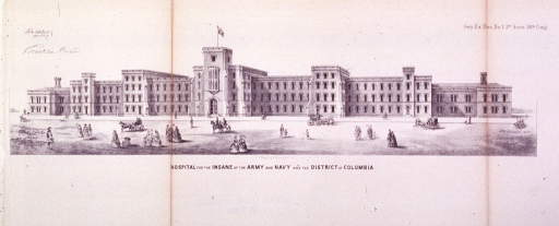 <p>Exterior view of St. Elizabeth's Hospital ca. 1860-61; panoramic view of the front of the building with many people passing in the street.</p>