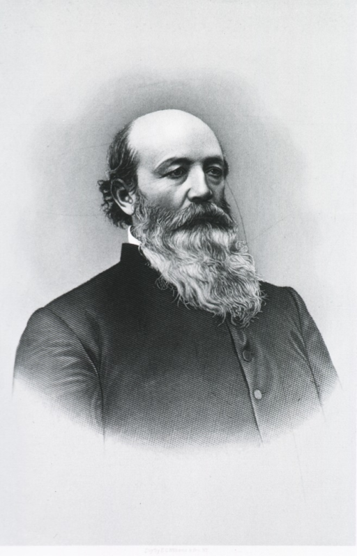 <p>Half length, body and face slightly to right; long beard.</p>