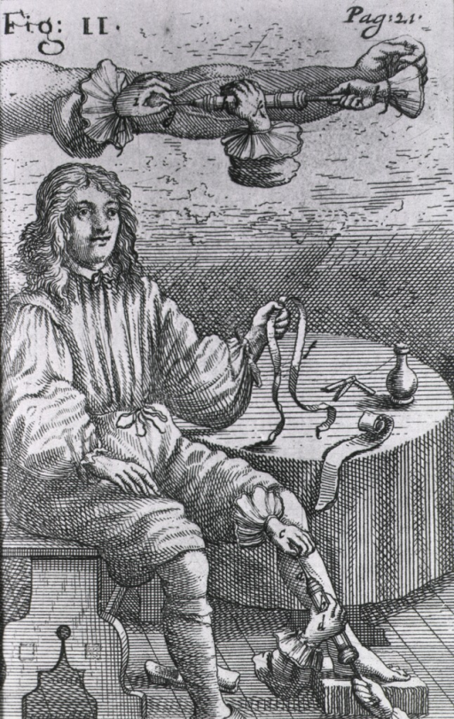 <p>A man is sitting at a table, he is holding a strap for a tourniquet; hands are holding a large syringe to a point on his left calf; above the man is an outstretched arm with hands holding a large syringe to an artery to extract blood.</p>