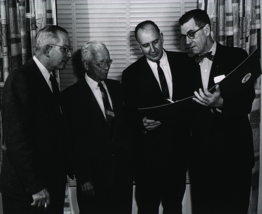 <p>Gathered for the Seventh R.E. Dyer Lecture, Nov. 5, 1957, are Dr. Joseph Smadel, Dr. Rolla Dyer, Dr. Richard Shape, and Dr. James A. Shannon.</p>
