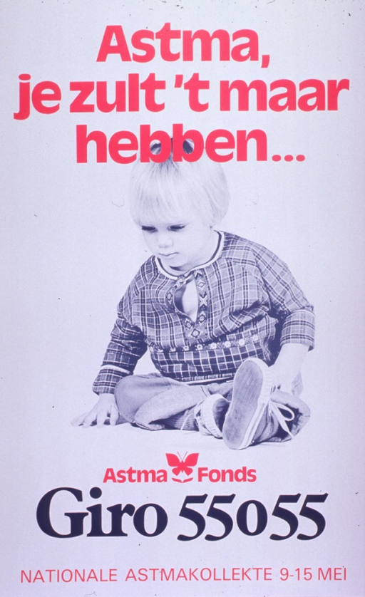 <p>Predominantly white poster with pink and black lettering.  Title at top of poster appears to address having asthma.  Visual image is a b&amp;w photo reproduction featuring a preschool child.  Publisher information and note announcing a national asthma collection near bottom of poster.</p>