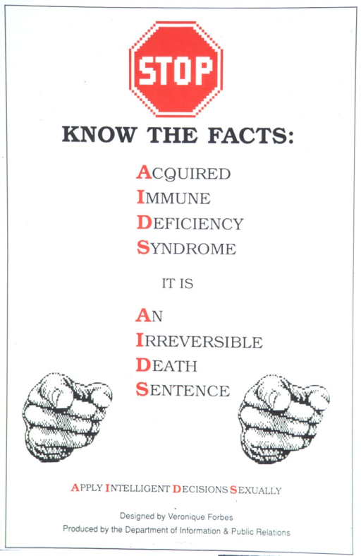 <p>A stop sign and two pointing index fingers frame the poster's use of the AIDS acronym three times to warn of its dangers.</p>