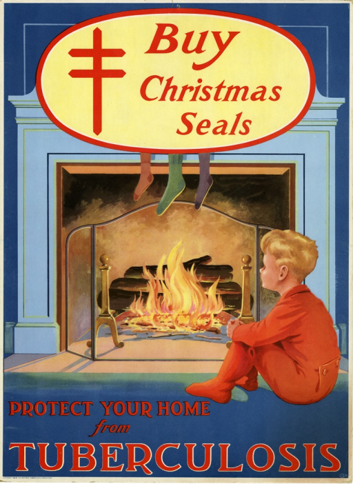 <p>Color poster with red lettering.  The illustration is of a young boy in red pajamas sitting on the floor before a fire in a fireplace.  Stockings hang from the mantle.  &quot;Buy Christmas Seals&quot; appears at the top of the poster in a light yellow ellipse, as does the anti-TB emblem of the Christian double-barred cross (i.e the Cross of Lorraine).  This poster is a larger version of HMP PP03594.</p>