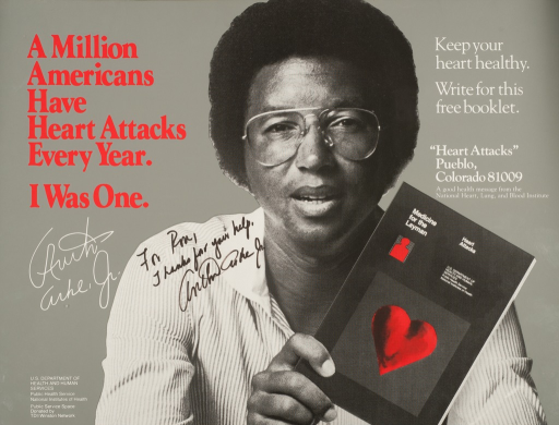 <p>Full face shot of Arthur Ashe, Jr. holding the book &quot;Medicine for the layman. Heart attacks.&quot;  To Arthur's right is his signature and a signed message: &quot;For Ron, Thanks for your help.&quot;</p>