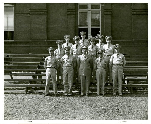 <p>Military personnel of the Army Medical Library. Front Row: Sgt. 1 cl Alvin P. Eagle, M/Sgt. Albert S. Stricker, Major Frank B. Rogers, M/Sgt. Stephen S. Bartkus, Sgt. Wyatt Snyder. 2nd Row: Sgt. James J. Hewitt, Cpl. Gerald Brasile, Cpl. Ralph E. Turner, Cpl. Richard C. Toupal. 3rd Row: Cpl. Leonard K. Bikowski, Pfc. Gene R. Sensing, Cpl. George Steffa.</p>