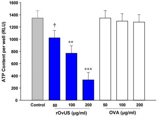 Inhibition of proliferation of PC-3 cells by recombinant ovine uterine serpin (rOvUS) as determined by ATP content/well. Ovalbumin (OVA) was used as a negative control. Data represent least-squares means ± SEM. Means that differ from untreated cells are indicated by symbols (†P < 0.1; **P < 0.01; ***P < 0.001).