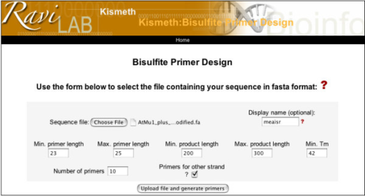 Design of primers for Bisulfite sequencing. Through this page the user can upload a reference sequence file, determine the length of the resulting product and the desired Tm, and Kismeth will provide a list of optional primers ranked by their predicted efficiency. The primers are designed taking into account bisulfite limitations, as described in the text. The user can also choose to design primers for the reverse complement of the input sequence, and thus interrogate both DNA strands.