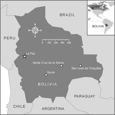 Map of Bolivia with an inset map of North America showi Openi