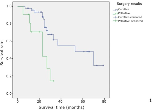 Overall cumulative survival rate for patients with OCLM undergoing resection based on curability status. Overall cumulative survival rate was significantly worse in the R1 group than in the R0 group (P=0.001).
