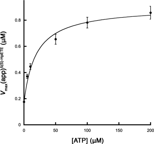 Effect of ATP on the Vmax(app) of 5-LOXwith the 5(S)-HpETE substrate. The data are fit toeq 4 (Scheme 1) witha Km of 14 μM, an α of 1.6,and a Ki of 12, where β was determinedto be 5.1 ± 0.1.