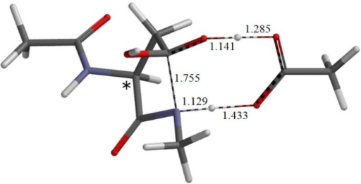 The geometry of the transition state TS-1 of the first step (cyclization) (φ = −162°, ψ = −150°, χ1 = 115°). The distances of forming and breaking bonds are shown in Å. The asterisk (*) indicates the α carbon.