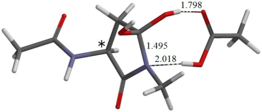 The geometry of I•AA-1 (φ = −167°, ψ = −138°, χ1 = 117°), which is the intermediate complex directly connected to TS-1. Selected interatomic distances are shown in Å. The asterisk (*) indicates the α carbon.