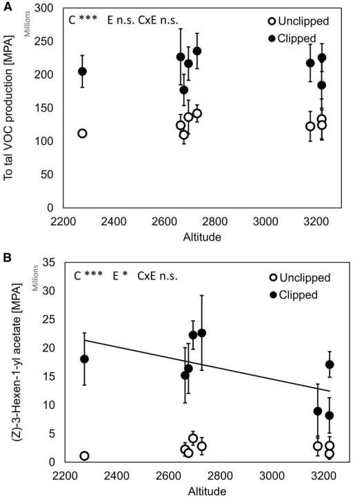 Effect of clipping (simulated herbivore treatment) and altitude on production of (A) total VOCs and (B) (Z)-3-Hexen-1-yl acetate. C, E and C × E indicate effects of clipping treatment, altitude and their interaction, respectively. **P < 0.01; ***P < 0.001; n.s. non-significant. MPA = mean peak area. Population means and SE are shown.